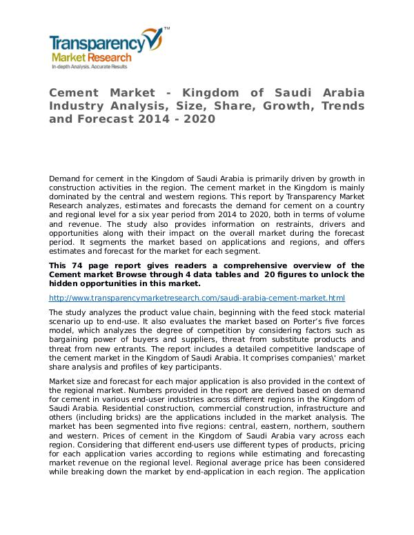 Cement Global Analysis & Forecast to 2014 Market Research Report Cement Market - Kingdom of Saudi Arabia Industry A