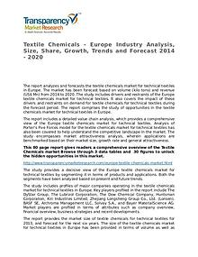 Textile Chemicals Global Analysis & Forecast to 2020