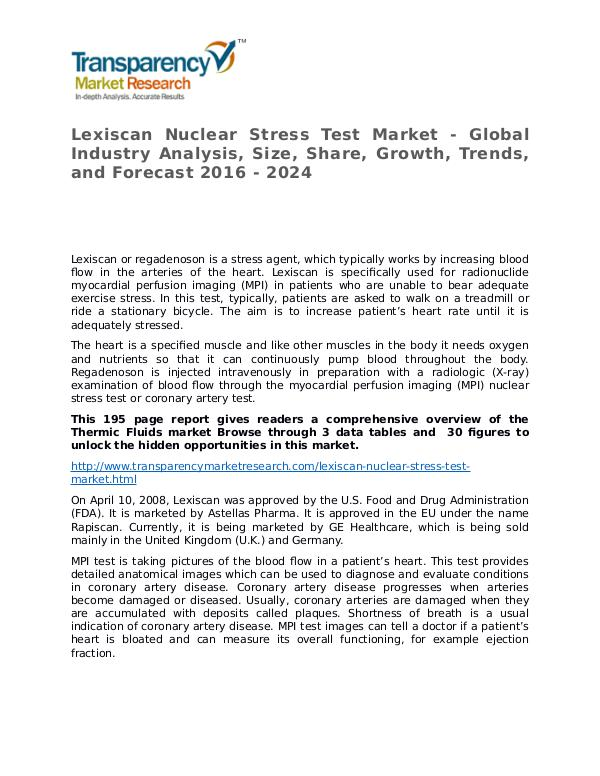 Lexiscan Nuclear Stress Test Global Analysis & Forecast to 2024 Lexiscan Nuclear Stress Test Market - Global Indus