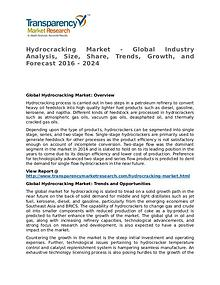 Hydrocracking Market – Analysis and Forecasts from 2016 to 2024