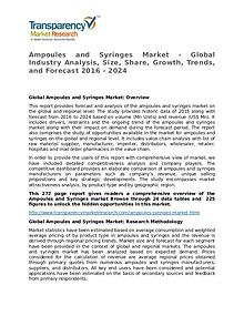 Ampoules and Syringes: Global Industry Analysis and Forecast