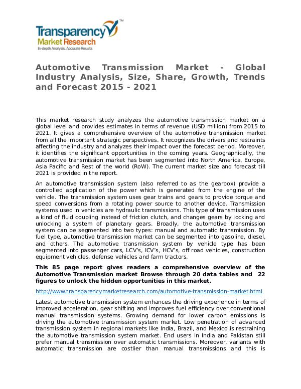Automotive Transmission Global Analysis & Forecast to 2021 Market Res Automotive Transmission Market - Global Industry A