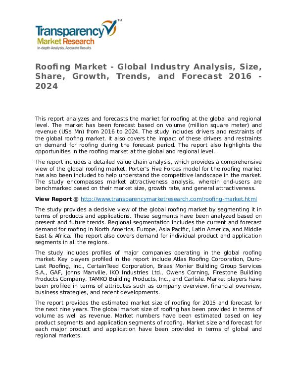 Roofing Global Analysis & Forecast to 2026 Market Research Report Roofing Market - Global Industry Analysis, Size, S