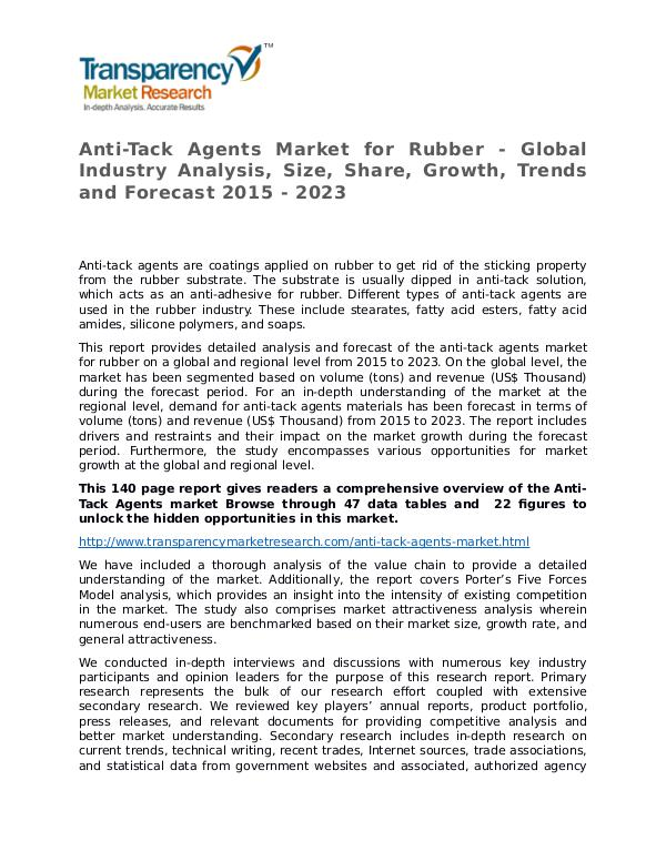 Anti-Tack Agents Market for Rubber 2015 Market Anti-Tack Agents Market for Rubber - Global Indust