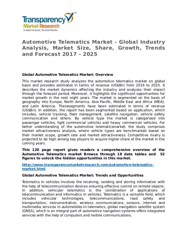 Automotive Telematics Market Research Report and Forecast up to 2027 Automotive Telematics Market - Global Industry Ana