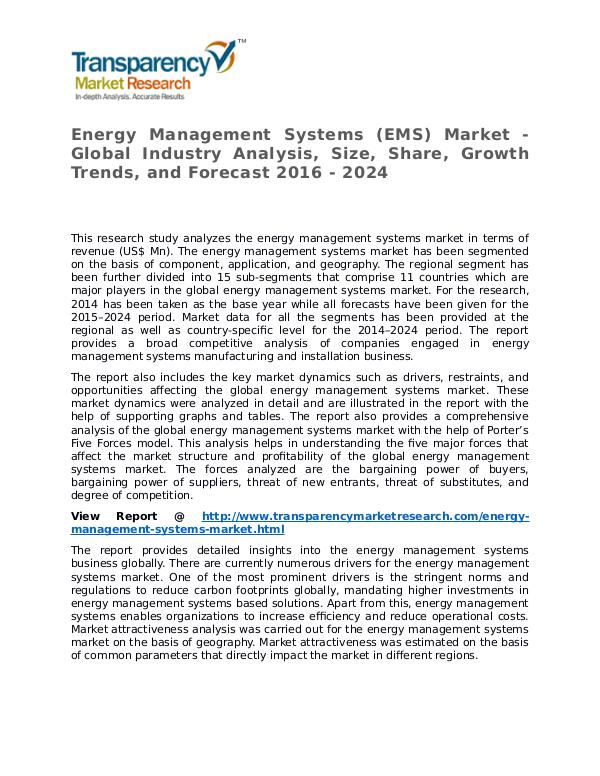 Energy Management Systems Market Research Report and Forecast Energy Management Systems (EMS) Market - Global In