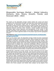 Disposable Syringes Market Research Report and Forecast up to 2023
