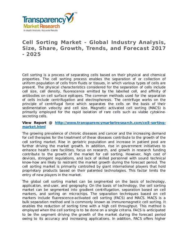 Cell Sorting Market Research Report and Forecast up to 2025 Cell Sorting Market - Global Industry Analysis, Si