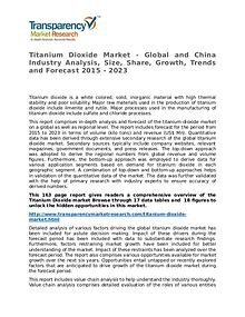 Titanium Dioxide Market Research Report and Forecast up to 2023