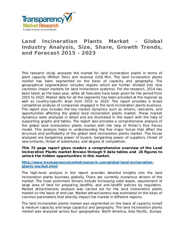 Land Incineration Plants Market Research Report and Forecast Land Incineration Plants Market - Global Industry