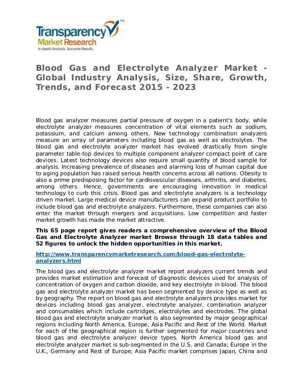 Blood Gas and Electrolyte Analyzer Market Research Report Blood Gas and Electrolyte Analyzer Market - Global