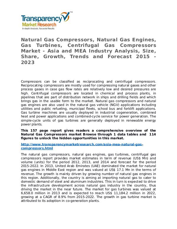 Natural Gas Compressors Market Research Report and Forecast Natural Gas Compressors Market - Asia and MEA Indu