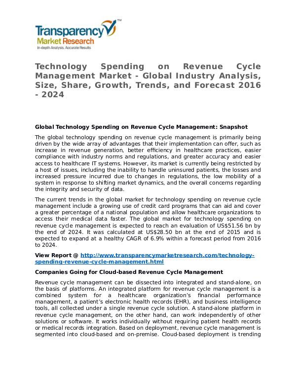 Technology Spending on Revenue Cycle Management Market Technology Spending on Revenue Cycle Management Ma