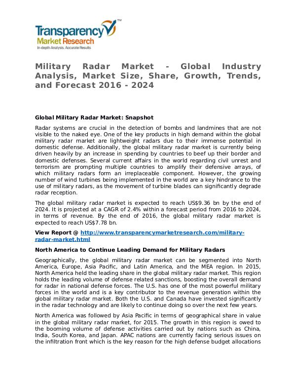 Military Radar Market Research Report and Forecast up to 2020 Military Radar Market - Global Industry Analysis,