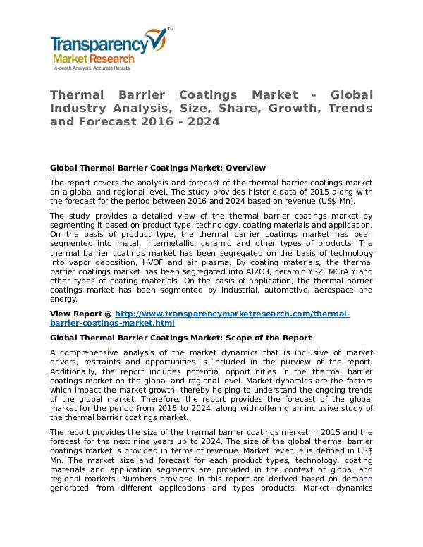 Thermal Barrier Coatings Market Research Report and Forecast Thermal Barrier Coatings Market - Global Industry