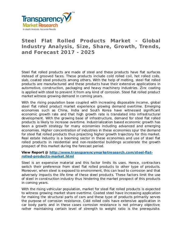 Steel Flat Rolled Products Market Research Report and Forecast Steel Flat Rolled Products Market - Global Industr