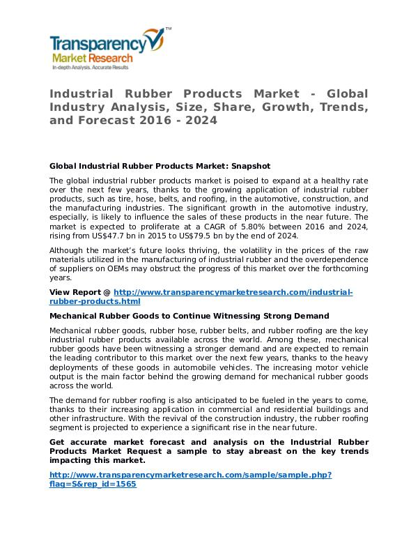 Industrial Rubber Products Market Research Report and Forecast Industrial Rubber Products Market - Global Industr