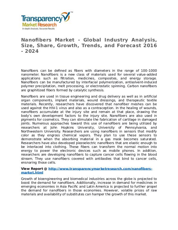 Nanofibers Market Research Report and Forecast up to 2024 Nanofibers Market - Global Industry Analysis, Size