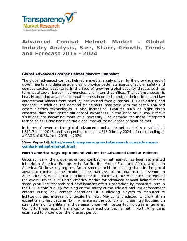Advanced Combat Helmet Market Research Report and Forecast up to 2024 Advanced Combat Helmet Market - Global Industry An