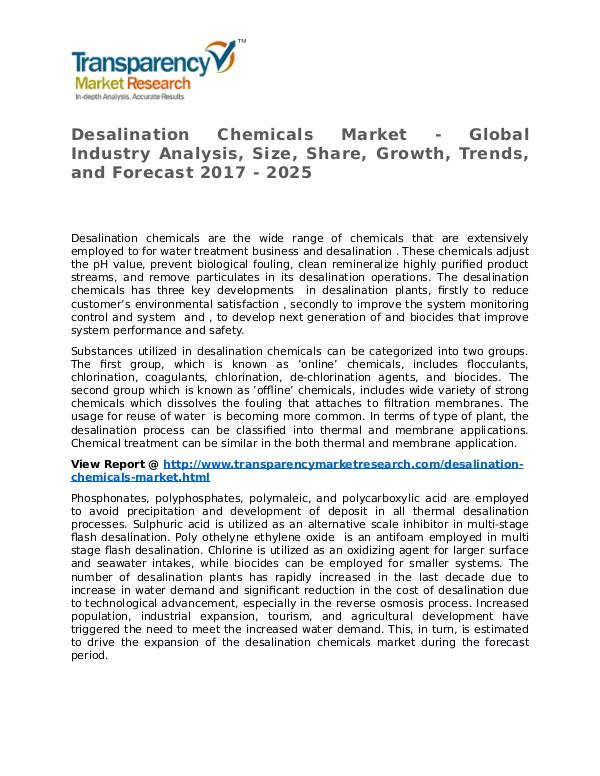 Desalination Chemicals Market Research Report and Forecast up to 2025 Desalination Chemicals Market - Global Industry An