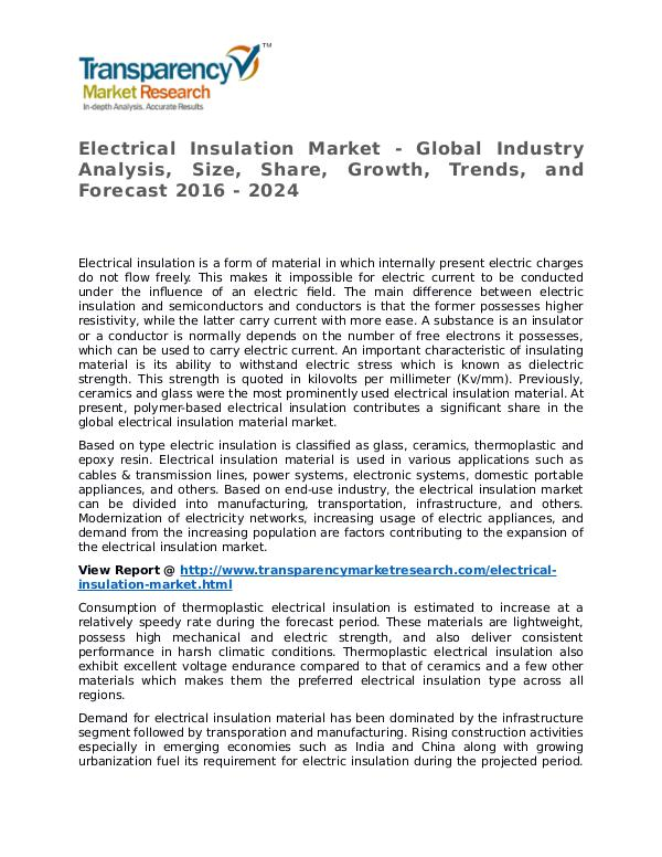 Electrical Insulation Market Research Report and Forecast up to 2024 Electrical Insulation Market - Global Industry Ana