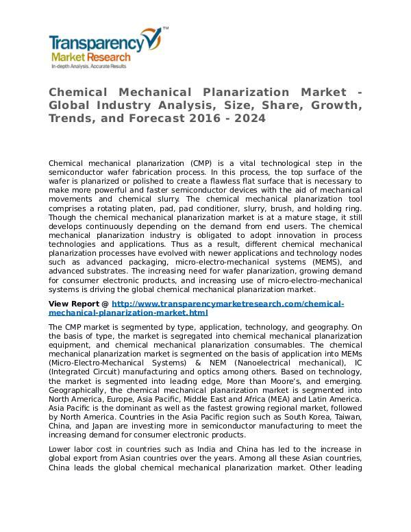 Chemical Mechanical Planarization Market Research Report and Forecast Chemical Mechanical Planarization Market - Global