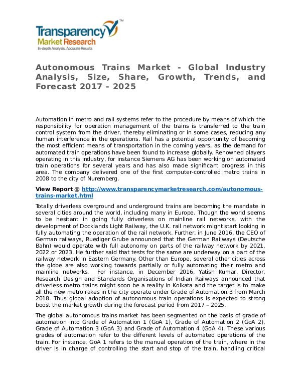 Autonomous Trains Market Research Report and Forecast up to 2025 Autonomous Trains Market - Global Industry Analysi