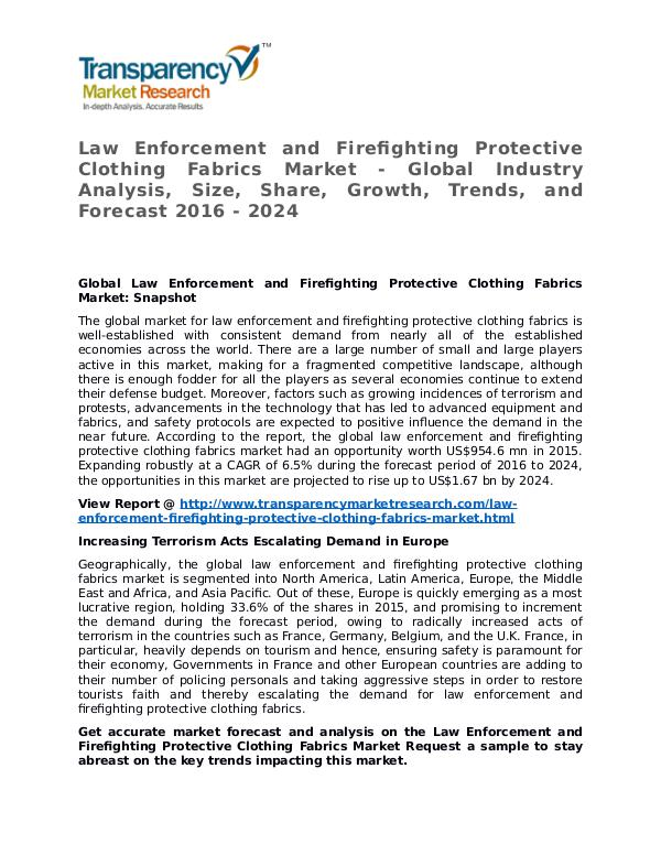 Law Enforcement and Firefighting Protective Clothing Fabrics Market Law Enforcement and Firefighting Protective Clothi