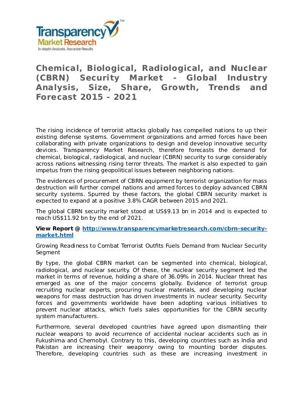 Chemical, Biological, Radiological, and Nuclear Security Market Chemical, Biological, Radiological, and Nuclear (C