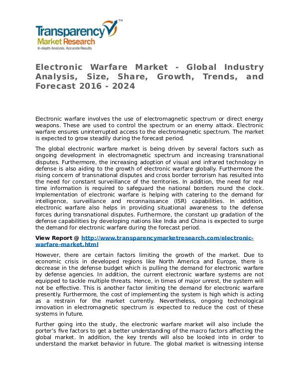 Electronic Warfare Market 2016 Trends, Research, Analysis and Review Electronic Warfare Market
