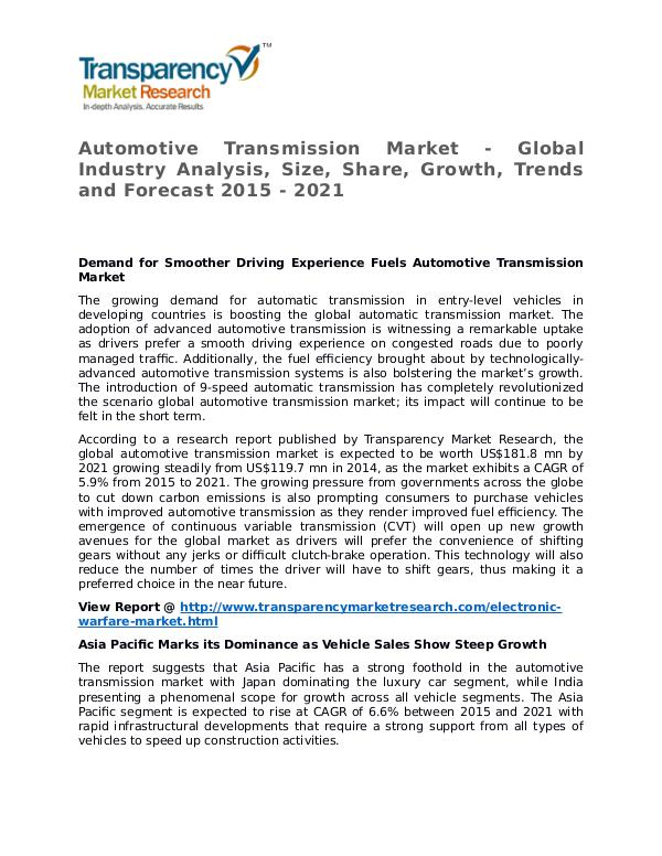 Automotive Transmission Market 2015 Share,Trend and Forecast Automotive Transmission Market