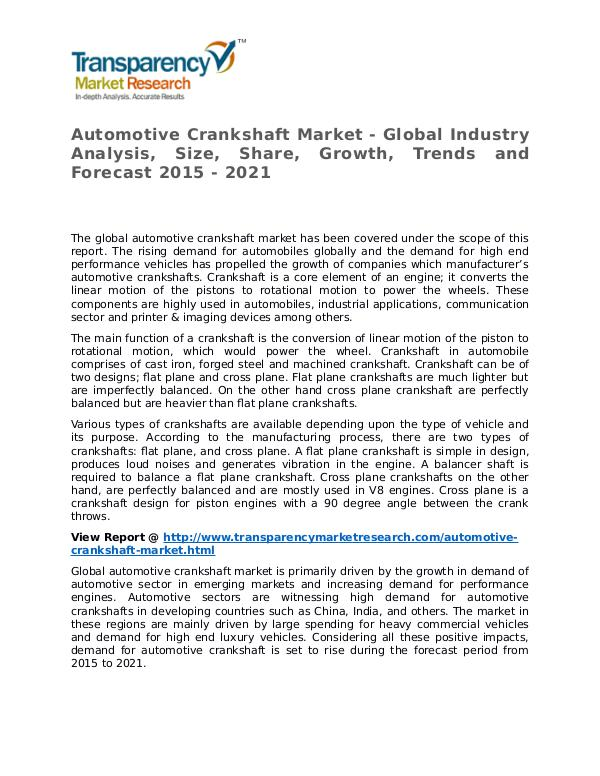 Automotive Crankshaft Market 2015 Share,Trend and Forecast Automotive Crankshaft Market