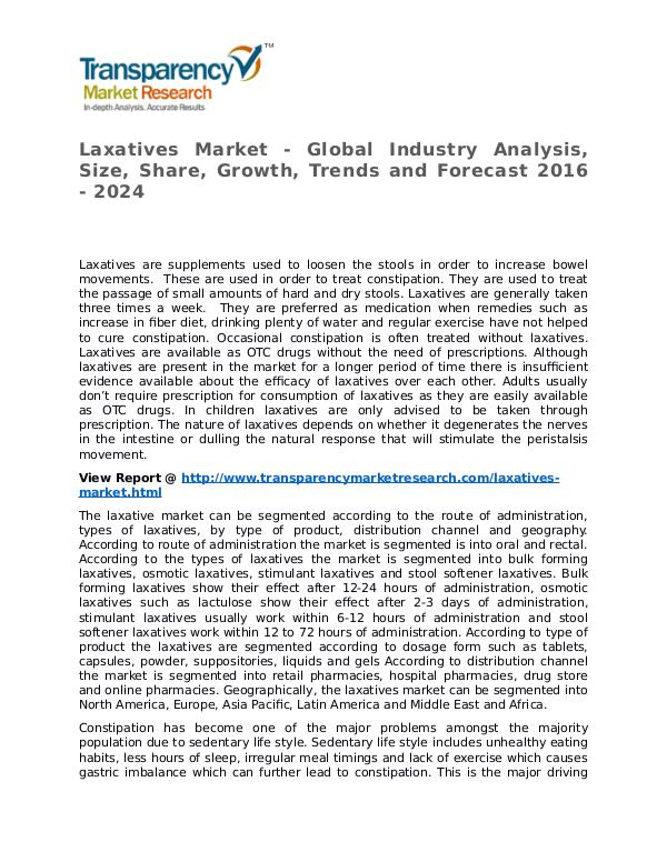 Laxatives Market 2016 Share,Trend,Segmentation and Forecast to 2024 Laxatives Market