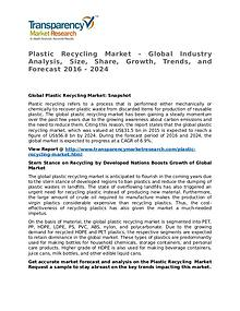 Plastic Recycling Market 2016 Share, Trend, Segmentation and Forecast