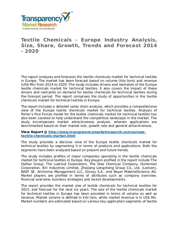 Textile Chemicals Market 2014 Share, Trend, Segmentation and Forecast Textile Chemicals - Europe Industry Analysis, Size