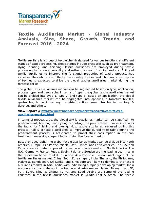 Textile Auxiliaries Market 2016 Textile Auxiliaries Market