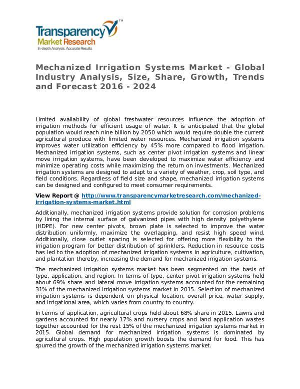 Mechanized Irrigation Systems Market 2016 Mechanized Irrigation Systems Market - Global Indu