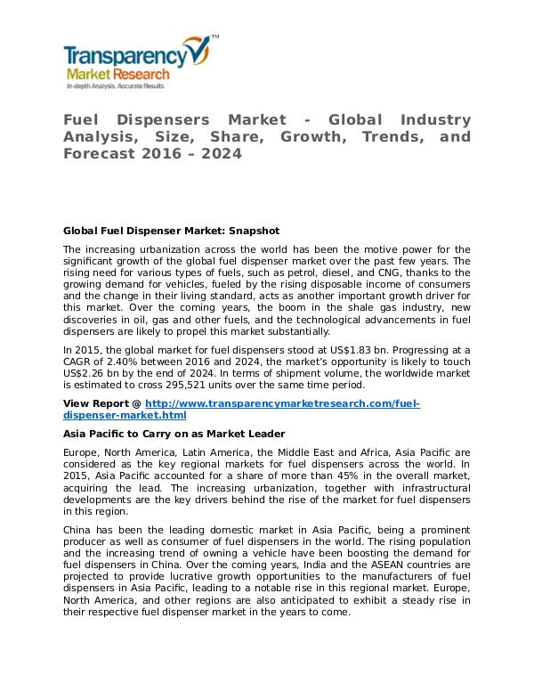 Fuel Dispensers Market 2016 Share, Trend, Segmentation and Forecast Fuel Dispensers Market - Global Industry Analysis,