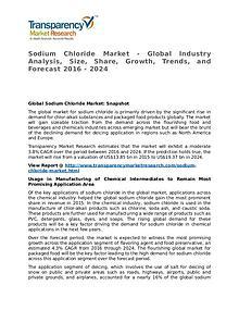 Sodium Chloride Market 2016 Share, Trend, Segmentation and Forecast