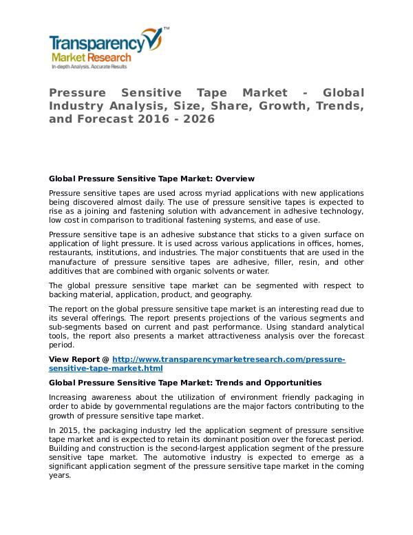 Pressure Sensitive Tape Market 2016 Share, Trend and Forecast Pressure Sensitive Tape Market - Global Industry A