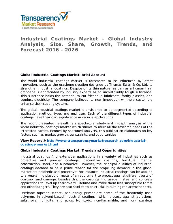 Industrial Coatings Market 2016 Share, Trend and Forecast Industrial Coatings Market - Global Industry Analy