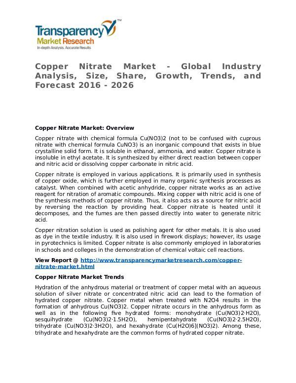 Copper Nitrate Market 2016 Share, Trend, Segmentation and Forecast Copper Nitrate Market - Global Industry Analysis,