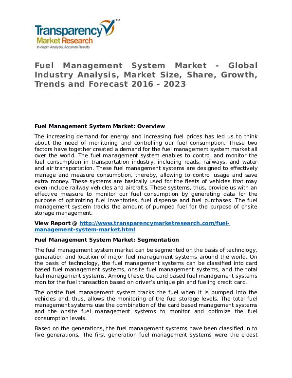 Fuel Management System Market 2016 Share, Trend and Forecast Fuel Management System Market - Global Industry An
