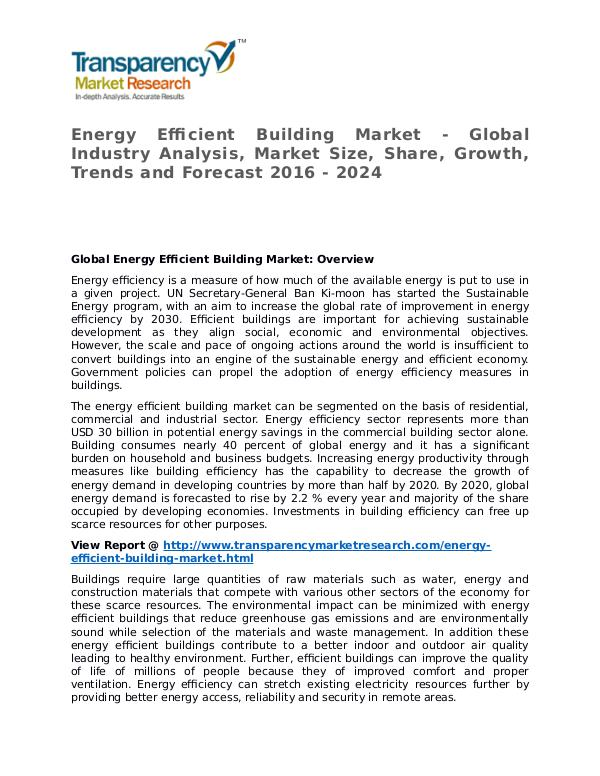 Energy Efficient Building Market 2016 Share and Forecast Energy Efficient Building Market - Global Industry