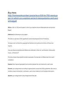 Write a 500- to 700-word paper in which you explore ancient Mesopotam