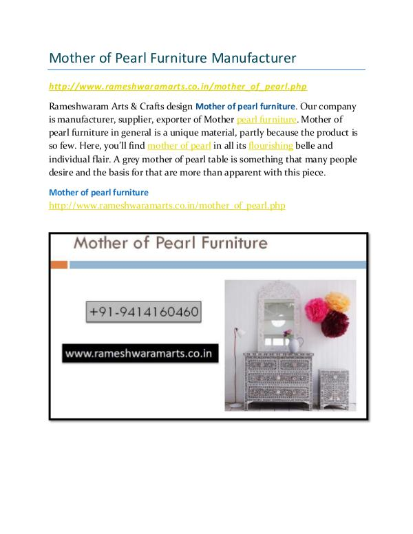Mother of Pearl Furniture Manufacturer Mother Pearl Furniture Manufacturer