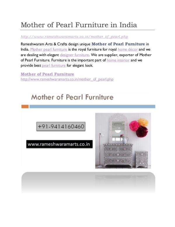 Mother Pearl Furniture in India