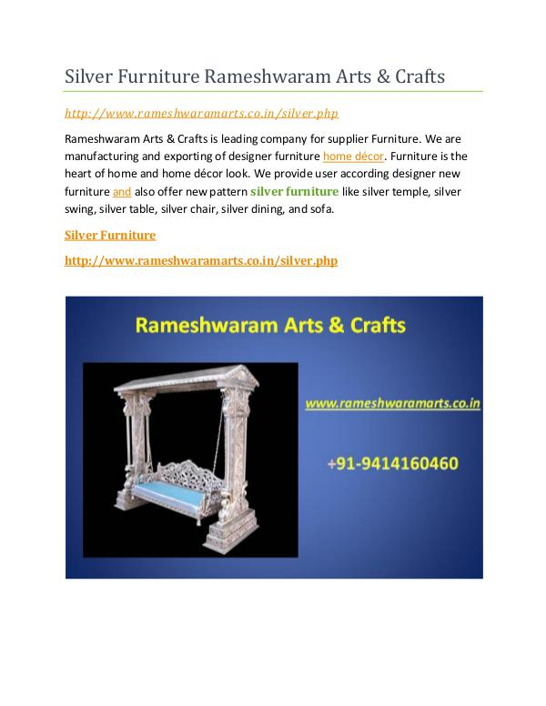 Silver Furniture Silver Furniture Rameshwaram Arts & Crafts