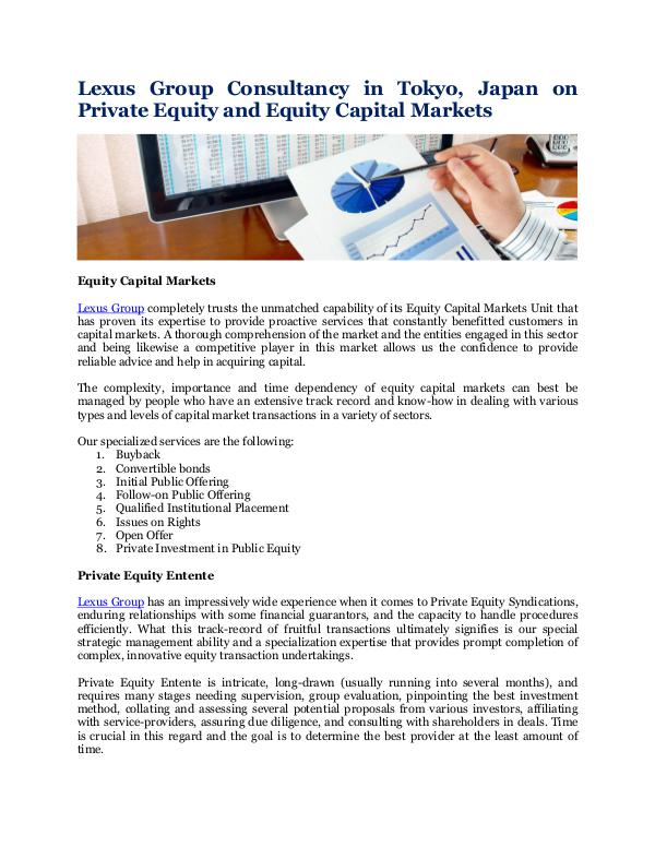Private Equity and Equity Capital Markets