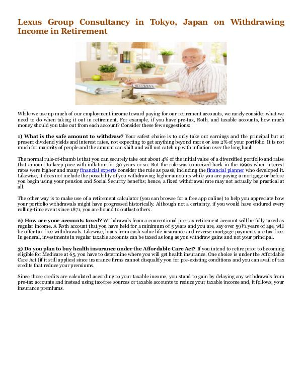 Withdrawing Income in Retirement